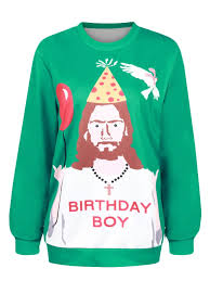 Ugly Christmas Sweats Happy Birthday Jesus Sweats - WSDear.com