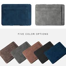 Designer Bus Pass Holder Ultra Thin Men Wallet Small Pu Leather Mini Size Magic Band Solid Color Card Holder Zipper Coin Purse Credit Bank Card Case