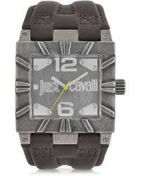 shop men s just cavalli watches from 132 lyst just cavalli timesquare 3h gray dial brown strap mens watch lyst