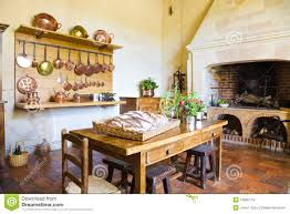 royalty free stock photo very old kitchen with fireplace