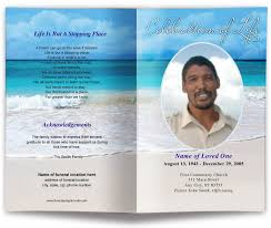 funeral pamphlet carribean beach scene funeral program template memorial service