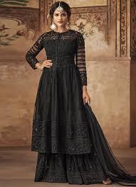 Black Sharara Designs Embroidered Black Net Designer Sharara Suit