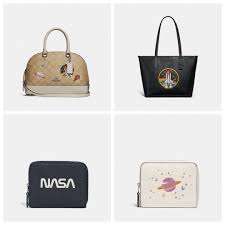 Clockwise from top left  Mini Sierra Satchel in Signature Canvas with Space  Patches,  350  City Zip Tote with Space Rocket Motif,  350  Small Zip  Around ...