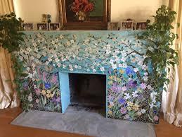 mosaic fireplace surround dogwood motif
