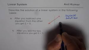 condition for linear system with no or infinite solutions