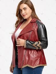 skew zipper plus size faux leather jacket wine red xl jwsnfg