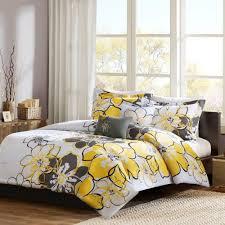details about 3 piece twin size xl print fl bedding sham pillow comforter set yellow grey