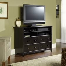 Tall Bedroom Furniture Black Laminated Particle Wood Tall Tv Stand For Bedroom With Dvd