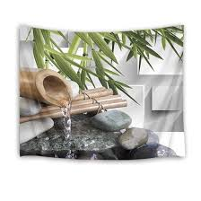com lb zen spa tapestry water through bamboo stem in japanese garden wall hanging green leaf tapestries for bedroom living room dorm decor 60wx40h