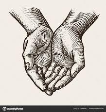 чашевидный руки сложа руки урожай эскиз вектор векторное
