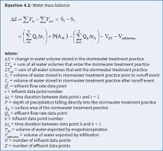 volume of water equation. the volume of water contained within a stormwater treatment practice can be determined from depth (see budget measurement for equation t