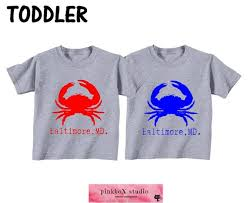 Md Crab Size Chart Red Crab Blue Crab Baltimore Md Toddler Or Youth Tee Made In Baltimore Crab Shirt Home State Shirt Maryland