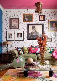 Living Room:Chic Inspiring Bohemian Living Room Designs Chic Bohemian  Living Room With White Wallpaper