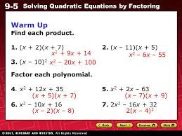 9 5 solving quadratic equations by factoring warm up find each