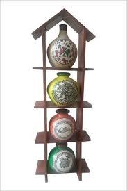 4 terracotta warli handpainted pots with sheesham wooden hut frame wall hanging wall decor