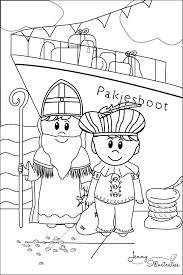 Sint En Piet En De Pakjesboot Sinterklaas Kleurplaat Freebies