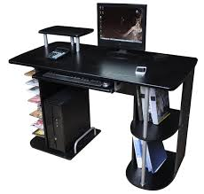 computer desk office workstation cpu tower storage compartment black finish