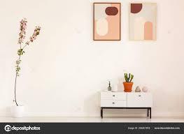 Posters Boven Witte Kast Met Plant Woonkamer Interieur Met Kopie
