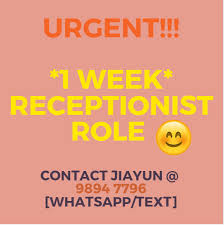 1 Week Role Temporary Receptionist Customer Service Officer Apply