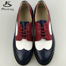 genuine leather flat shoes women us size 11 handmade red white blue vintage british style oxford