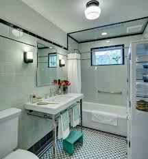 bathroom small craftsman green tile and ceramic tile porcelain floor bathroom idea in new york