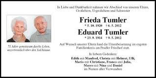 Traueranzeige Von Tumler Frieda U Eduard Vom 24052012
