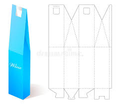 wine packaging template wine paper box with blueprint template stock vector illustration