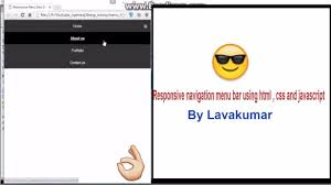 How To Design A Menu Bar In Html How To Design Responsive Menu Bar Using Html Css And Javascript Part 7