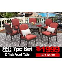 patio furniture bahama 7 piece set with 60 inch round table for 6 person