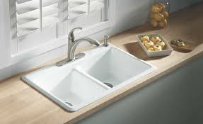 white cast iron sink. Brilliant Iron White Cast Iron Sink With Double Bowls And One Hole Faucet  Timeless  Durable Kitchen Sinks  Wearefound Home Design To E
