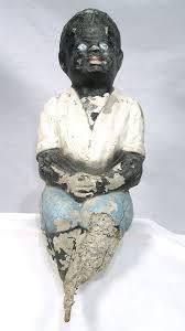 antique black memorabilia fishing boy garden post art concrete sculpture statue