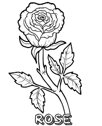 Coloring pages information title : A Single Rose Coloring Page To Print