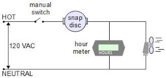 electronic temperature control circuit snap disc circuit hour meter
