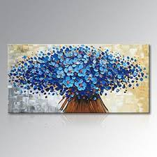 winpeak art hand painted abstract canvas wall art modern textured blue flower oil painting contemporary artwork floral hanging home decorat on canvas wall art blue flowers with winpeak art hand painted abstract canvas wall art modern textured