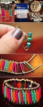 Beaded Safety Pin Designs Diy Beaded Safety Pin Bracelets On We Heart It