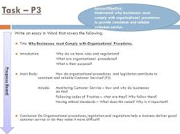 customer service and organisational procedures ppt video online  task p3 write an essay in word that covers the following