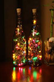 Set of 2 Amber Wine Bottle Lights - Night Light, Christmas Light, indoor  light