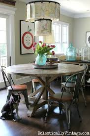 love this round farmhouse dining table and industrial chairs kellyelko com