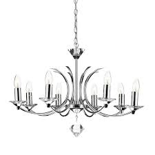 dar medusa 8 light dual mount chandelier polished chrome