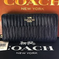 BNWT AUTHENTIC COACH MADISON GATHERED LEATHER IN MIDNIGHT DARK BLUE WALLET  ( USUAL PRICE USD248), Luxury, Bags   Wallets on Carousell