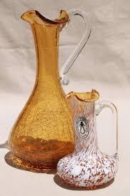 vintage pilgrim art glass pitchers hand blown amber le glass mottled white