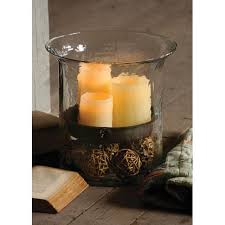 giant glass candle cylinder w metal insert