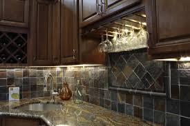 Brilliant Stone Kitchen Backsplash Dark Cabinets Appealing Design With Kraftmaid And To Impressive Ideas