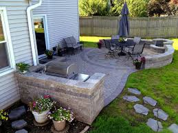 patio with pool and grill. Brilliant Pool Paver Patio With Grill Surround And Fire Pit And With Pool O