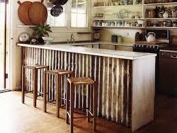 corrugated metal kitchen island
