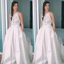fancy halter sleeveless sweep train open back wedding dress with