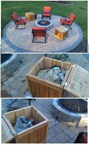 DIY Firepit storage tables, one holds the propane gas tank for the firepit  the other