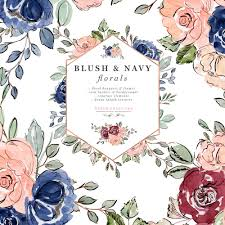 Wedding Invitation Background Blue Blush And Navy Blue Watercolor Flowers Clipart Wedding Invitation Backgrounds