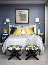 Mustard black cream and gray bedroom color scheme