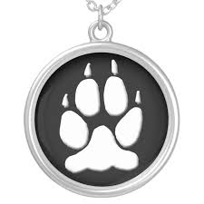 white wolf paw print pendant zazzle com
